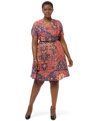 Tribal Printed Fit And Flare Dress