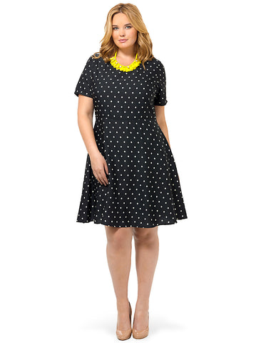Classic Polka Dot Fit & Flare Dress