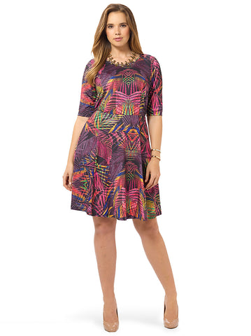 Tropical Palm Fit & Flare Dress