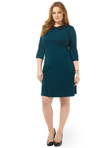 Collared Shift Dress In Forest Green
