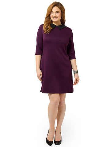 Collared Shift Dress In Eggplant