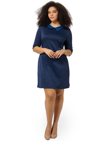 Collared Shift Dress In Navy