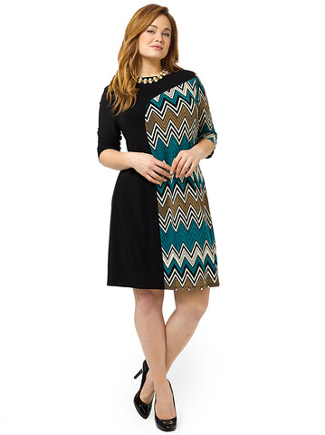 Marcel Dress In Teal Chevron