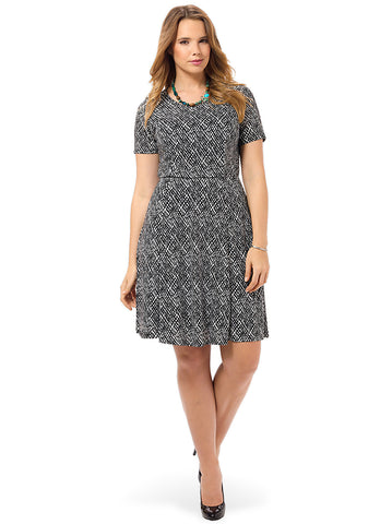 Netted Print Fit & Flare Dress