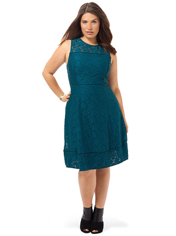 Sicilian Green Lace Fit & Flare Dress