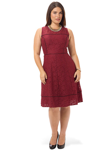 Tuscan Rose Lace Fit & Flare Dress