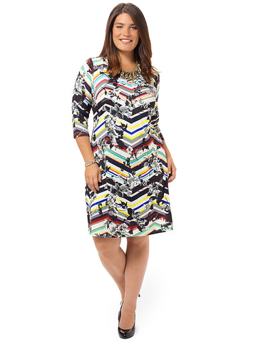 Floral & Stripes Chevron Shift Dress