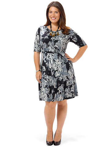 Tranquil Floral Fit & Flare Dress