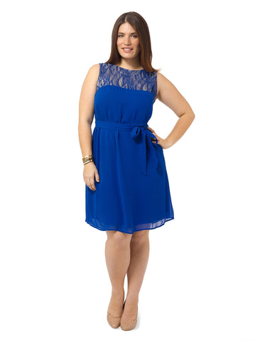 A-Line Netting Dress In Cobalt