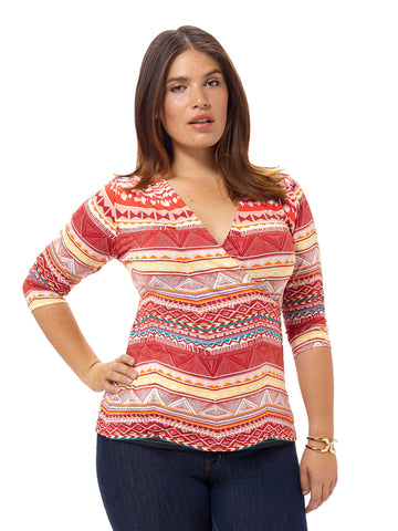 Aztec Printed Draped Front Top