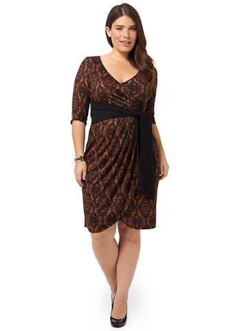 Harlow Faux Wrap Dress In Moroccan Henna