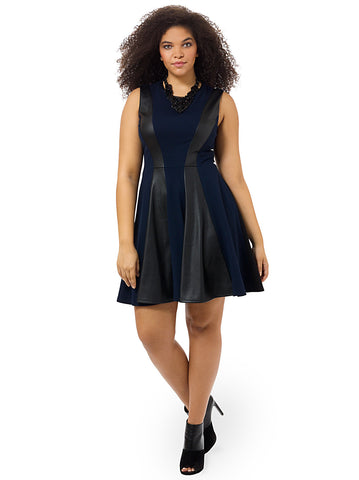 Sleeveless Fit & Flare Dress With Contrast Panels
