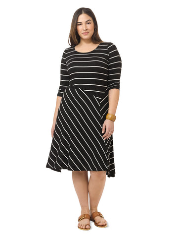 Stripe Uneven Hem Dress