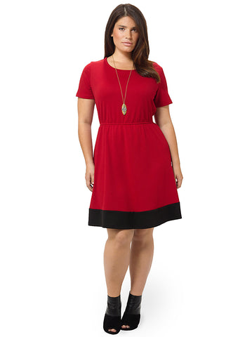 Contrast Hem Skater Dress In Ruby