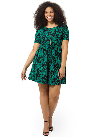Skater Dress In Emerald Jacquard