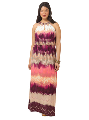 Blouson Halter Maxi Dress