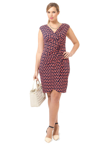V-Neck Side Ruched Tie Sheath Dress