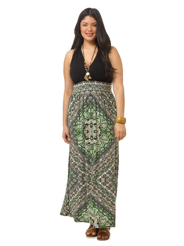 Colorblocked Printed Maxi Dress