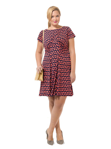 Fit & Flare Dress With Ruched Waist