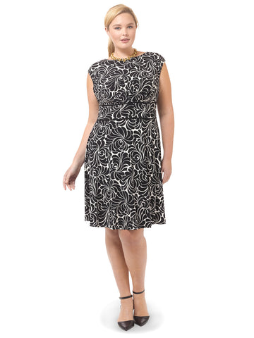 Fit & Flare Dress In Black & Cream Print