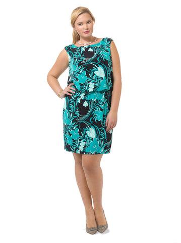 Sleeveless Printed Blouson Dress
