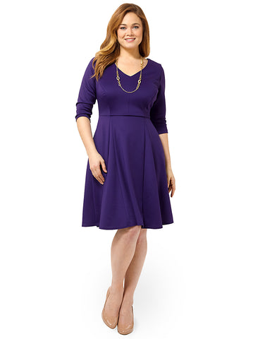 Flirty Flounce Dress In Eggplant