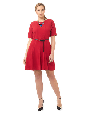 Fit & Flare Dress In Red