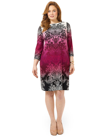 Ombre Printed Shift Dress In Pink