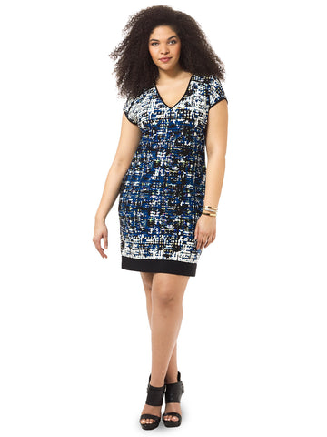 V-Neck Shift Dress In Abstract Print