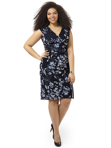 Floral Print Sheath Dress With Side Gather