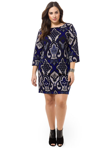 Placed Print Shift Dress
