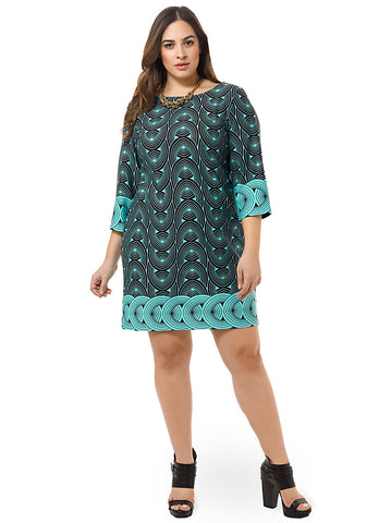 Spiral Print Shift Dress In Aqua Black