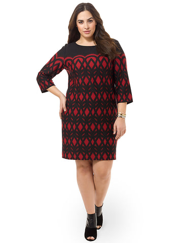 Shift Dress In Black Garnet