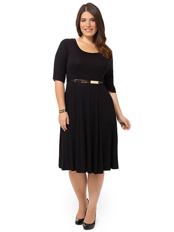 Black Skater Jersey Midi Dress With Metallic Bar Trim Belt