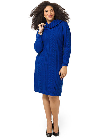 Cable-Knit Sweater Dress In Royal Blue