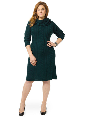 Cable-Knit Sweater Dress In Forest Green