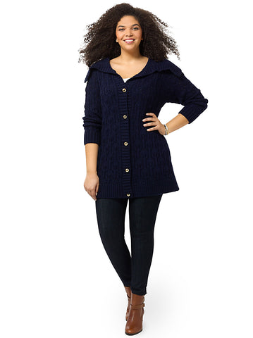 Long Cozy Cardigan In Navy
