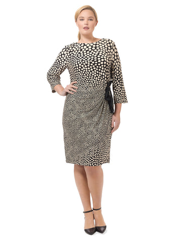 Side Tie Dress In Black & Cream Print