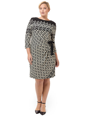 Side Tie Dress In Black Geo Print