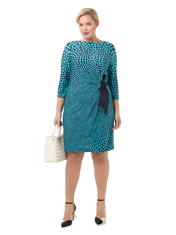 Side Tie Dress In Aqua & Navy Print