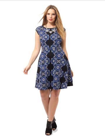 Scuba Fit & Flare Dress In Black & Royal
