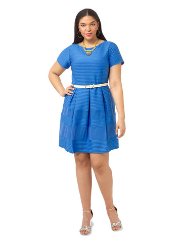Sky Blue Textured Dress With Mesh Inserts