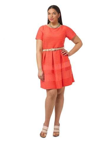Textured Coral Dress With Mesh Inserts