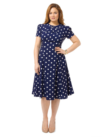 Madden Dress In Navy Dot Print