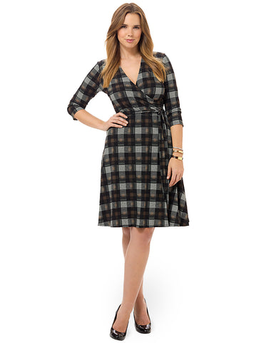 Perfect Wrap Dress In Palomino Plaid