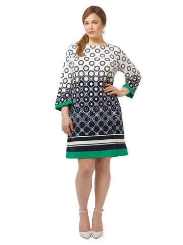 Shift Dress In Circle Print
