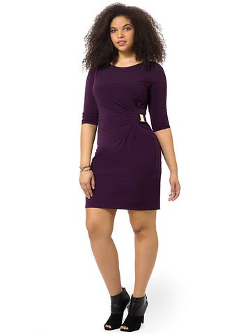 Long Sleeve Dress With Side Ruching