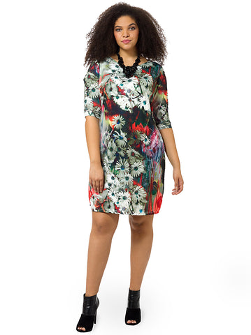 Abstract Daisy Printed Shift Dress