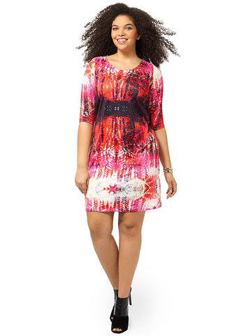 Fuchsia Tie Dye Shift Dress