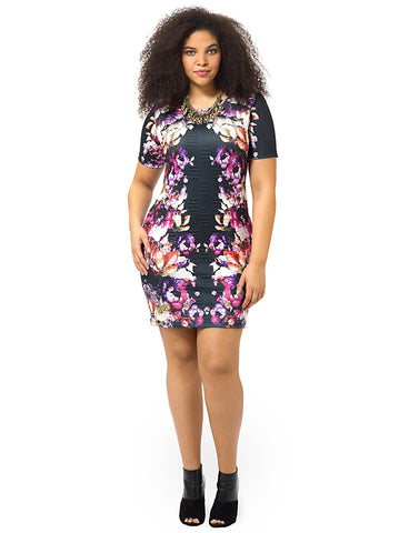 Rose Floral Mirror Texture Dress